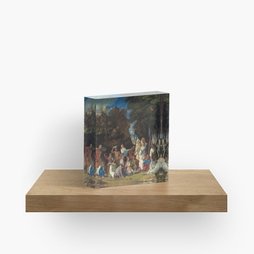 The Feast of the Gods Painting by Giovanni Bellini and Titian Acrylic Block