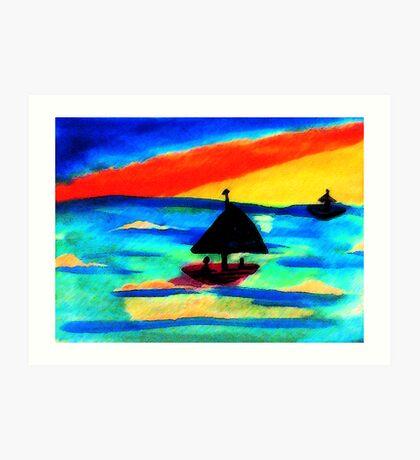 Fun at sunset, watercolor Art Print