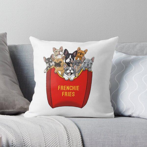 French Bulldog Frenchie Fries Throw Pillow