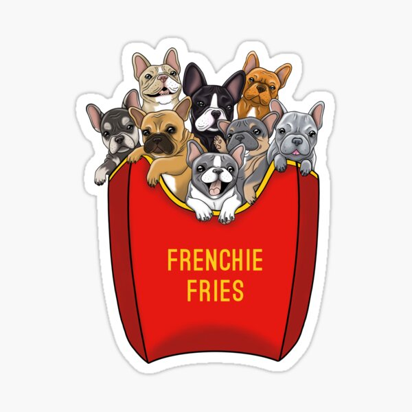 French Bulldog Frenchie Fries Sticker