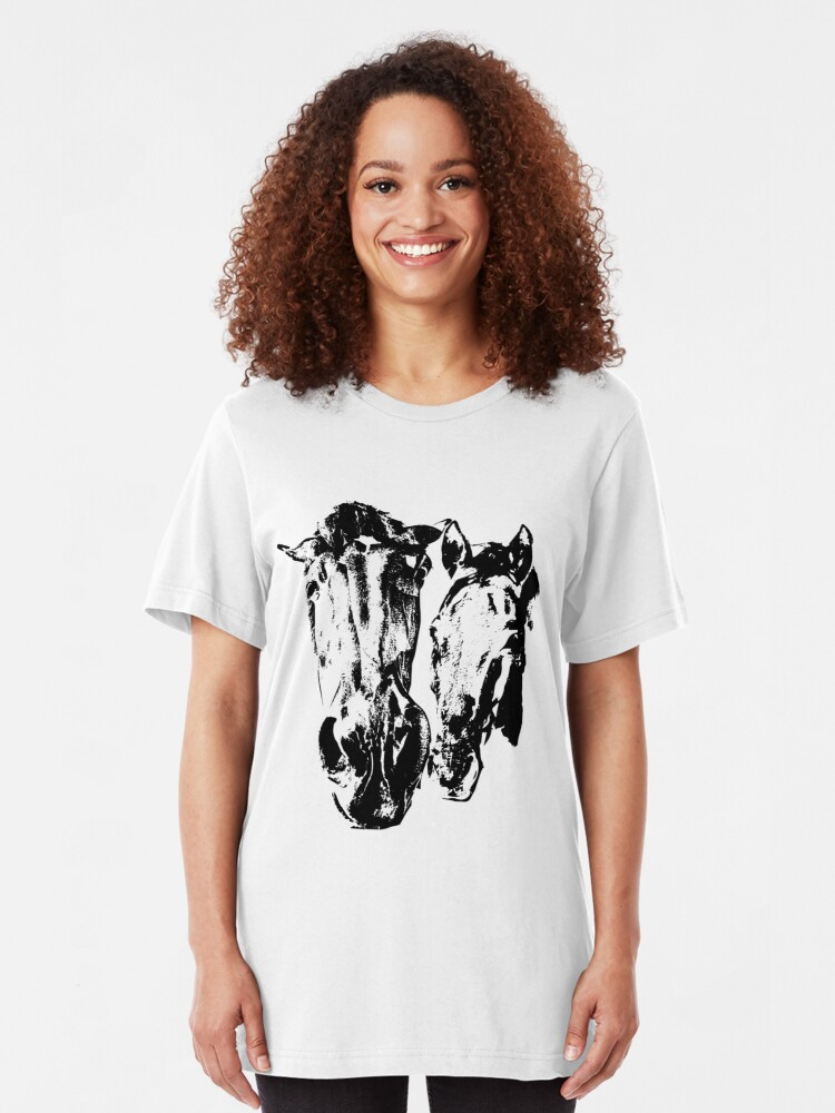 Alternate view of Two horses Slim Fit T-Shirt