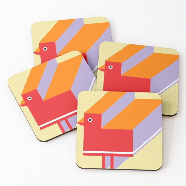 Red little bird coming for you Coasters (Set of 4)