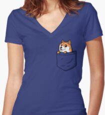 Doge Pocket (Pocket Doge T-Shirt) Women's Fitted V-Neck T-Shirt