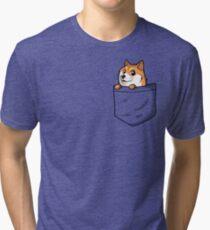 Doge Pocket (Pocket Doge T-Shirt) Tri-blend T-Shirt