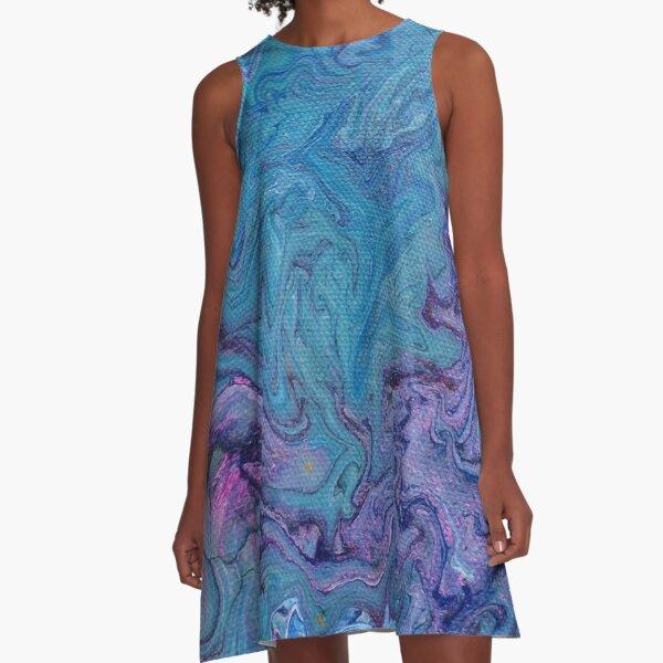 Blue N Purple Swirls A-Line Dress