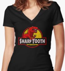 Sharp Tooth T-Shirt (Jurassic Park) Women's Fitted V-Neck T-Shirt