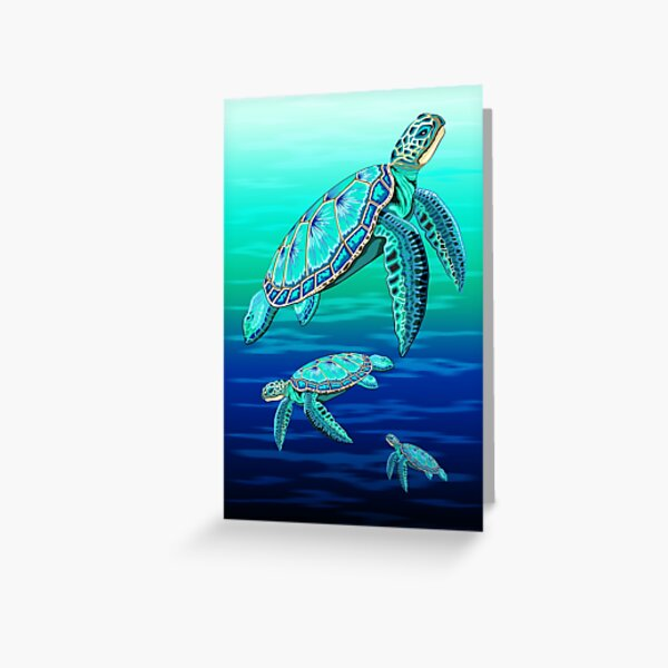 Sea Turtle Turquoise Oceanlife Greeting Card