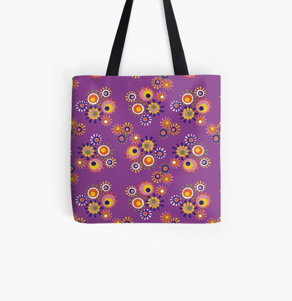 Circle a go go - purple All Over Print Tote Bag