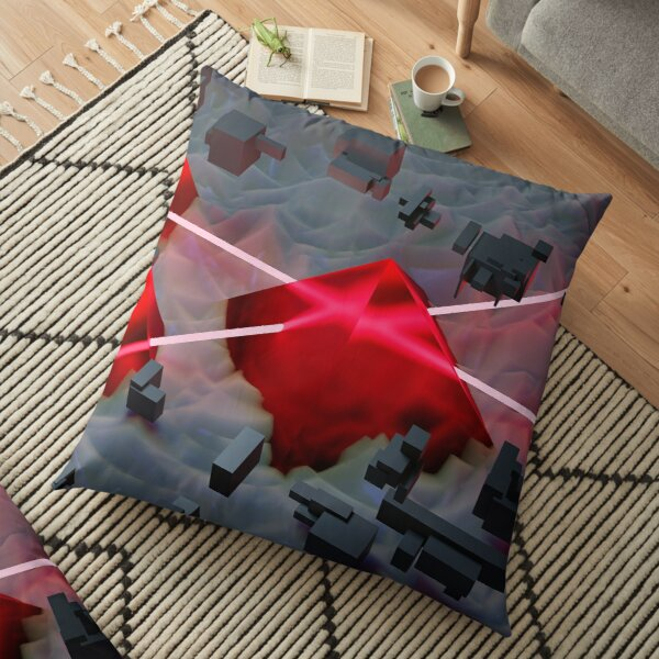 Red Crystal Pyramid Floor Pillow