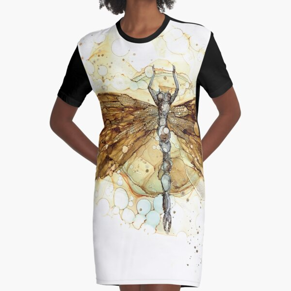 Fall Dragonfly Graphic T-Shirt Dress