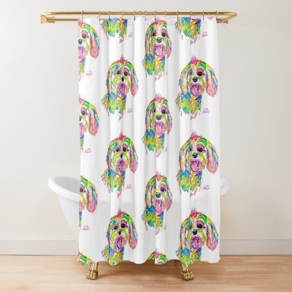 Maltese or Bichon Frise painting Shower Curtain