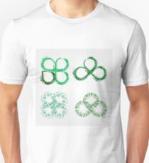 Beautiful green leaves stylized with organic lines  T-Shirt