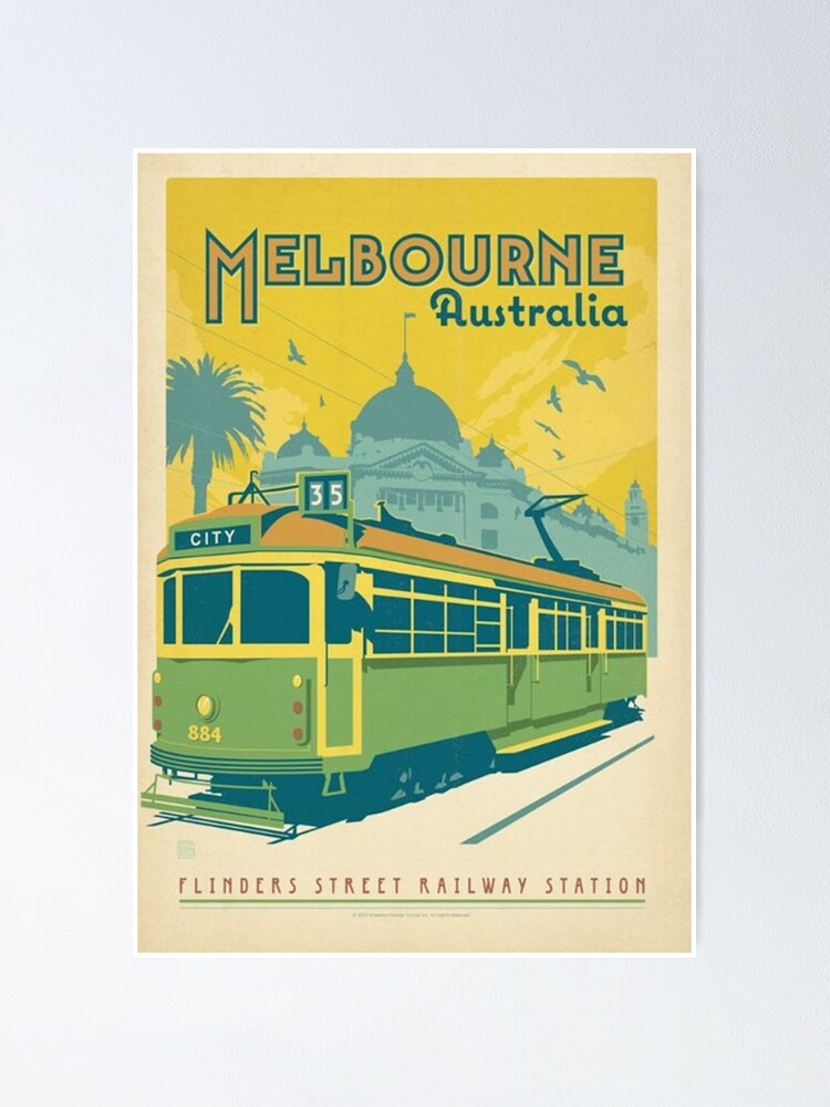 Alternate view of Vintage Melbourne Australia Poster