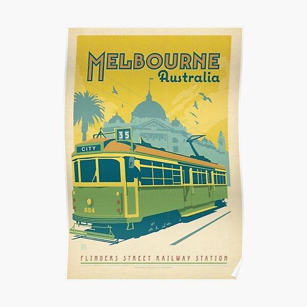 Vintage Melbourne Australia Póster