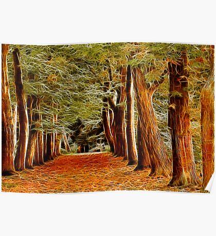Fractalius Autumn Walkway Poster