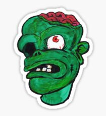 Halloween Green Zombie Brain Sticker