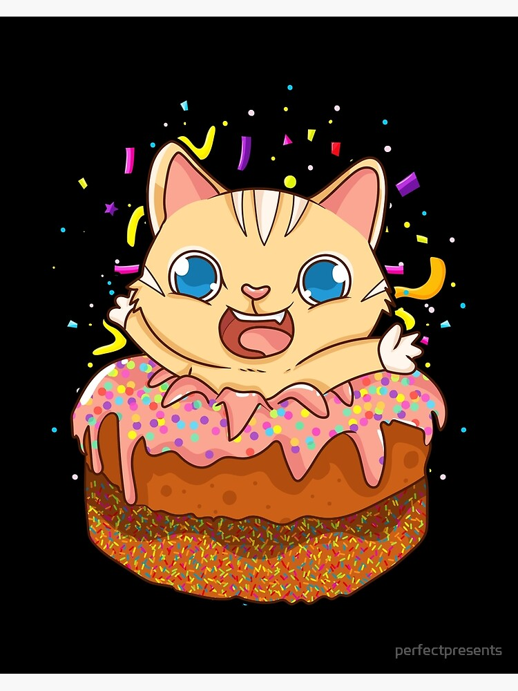 Incredible Birthday Cake Cat Surprise Kitty Art Board Print By Personalised Birthday Cards Epsylily Jamesorg