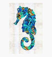 Blue Seahorse Art by Sharon Cummings Photographic Print