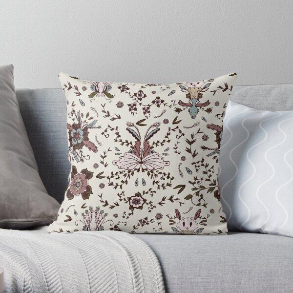 Rustic Blush Vintage Floral Hand-Drawn Print Throw Pillow