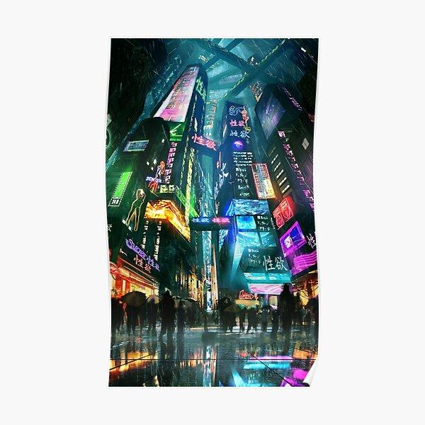 cyberpunk city street tokyo Poster