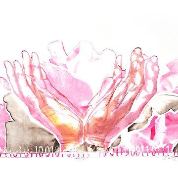 mercy flower hands in bloom binary code litho print by veerapfaffli