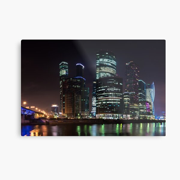 Moscow City Skyscrapers at Night Metal Print