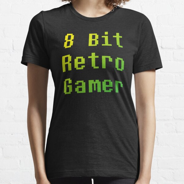 8 Bit Retro Gamer (Vintage Text Quote • Green Yellow) Essential T-Shirt