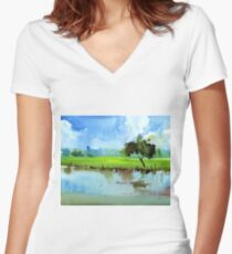 Sky N Farmland Women's Fitted V-Neck T-Shirt