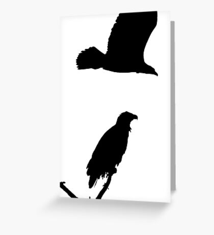 on the snag and on the wing eagles silhouette Greeting Card