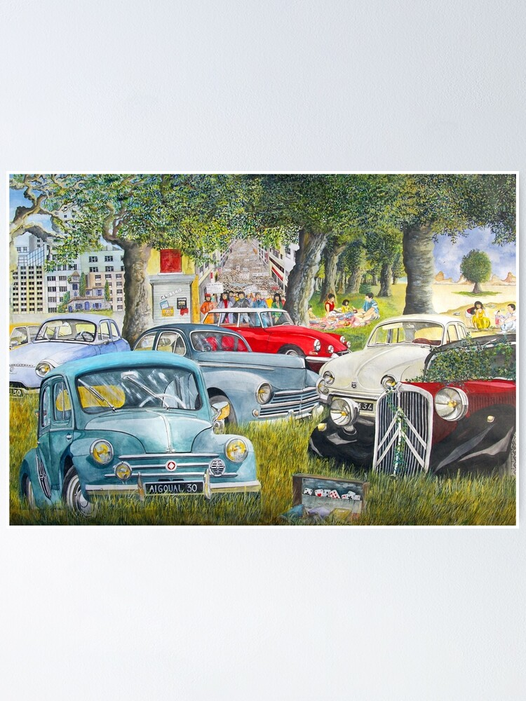 Old French Vehicles 4 Cv Ds Traction Old Cars French Cars Nice Cars Poster By Bastidecreation Redbubble