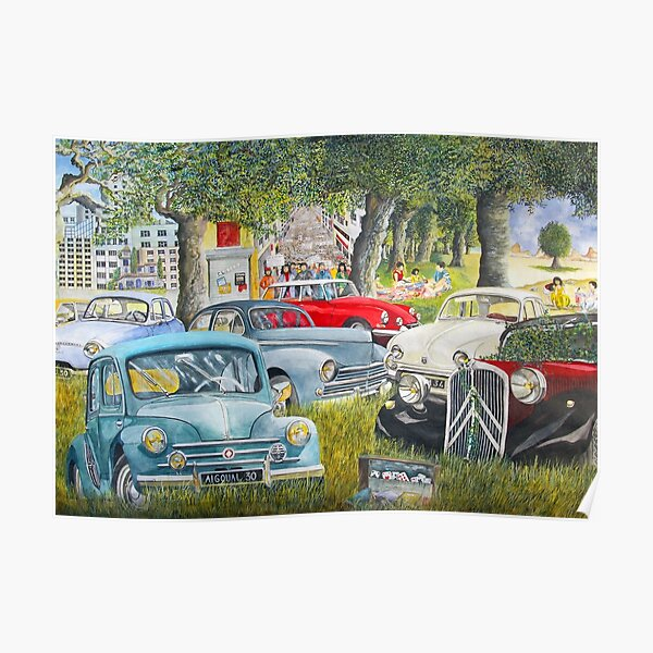 old french vehicles, 4 CV, ds, traction, old cars, french cars, nice cars Poster