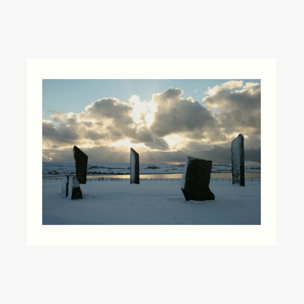 Stenness in snow Art Print