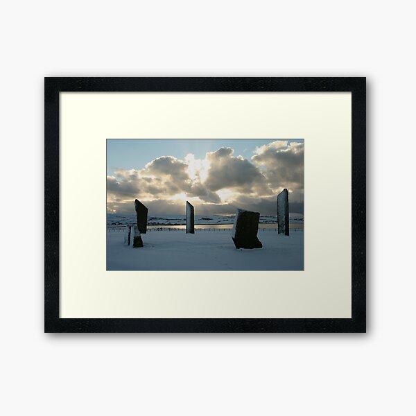 Stenness in snow Framed Art Print