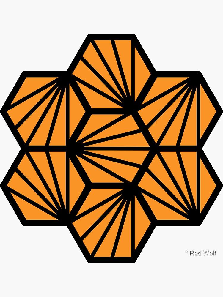 Geometric Pattern: Hexagon Ray: Orange Black by redwolfoz