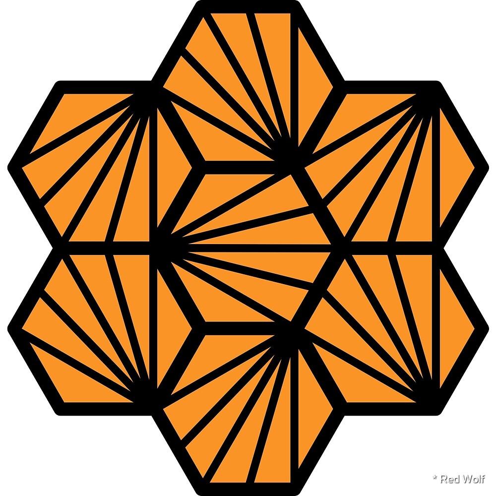 Geometric Pattern: Hexagon Ray: Orange Black by * Red Wolf
