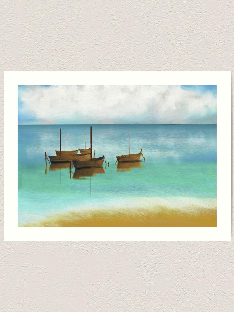 Mini Art Print Beach on Postcard with a seascape Hand-painted design
