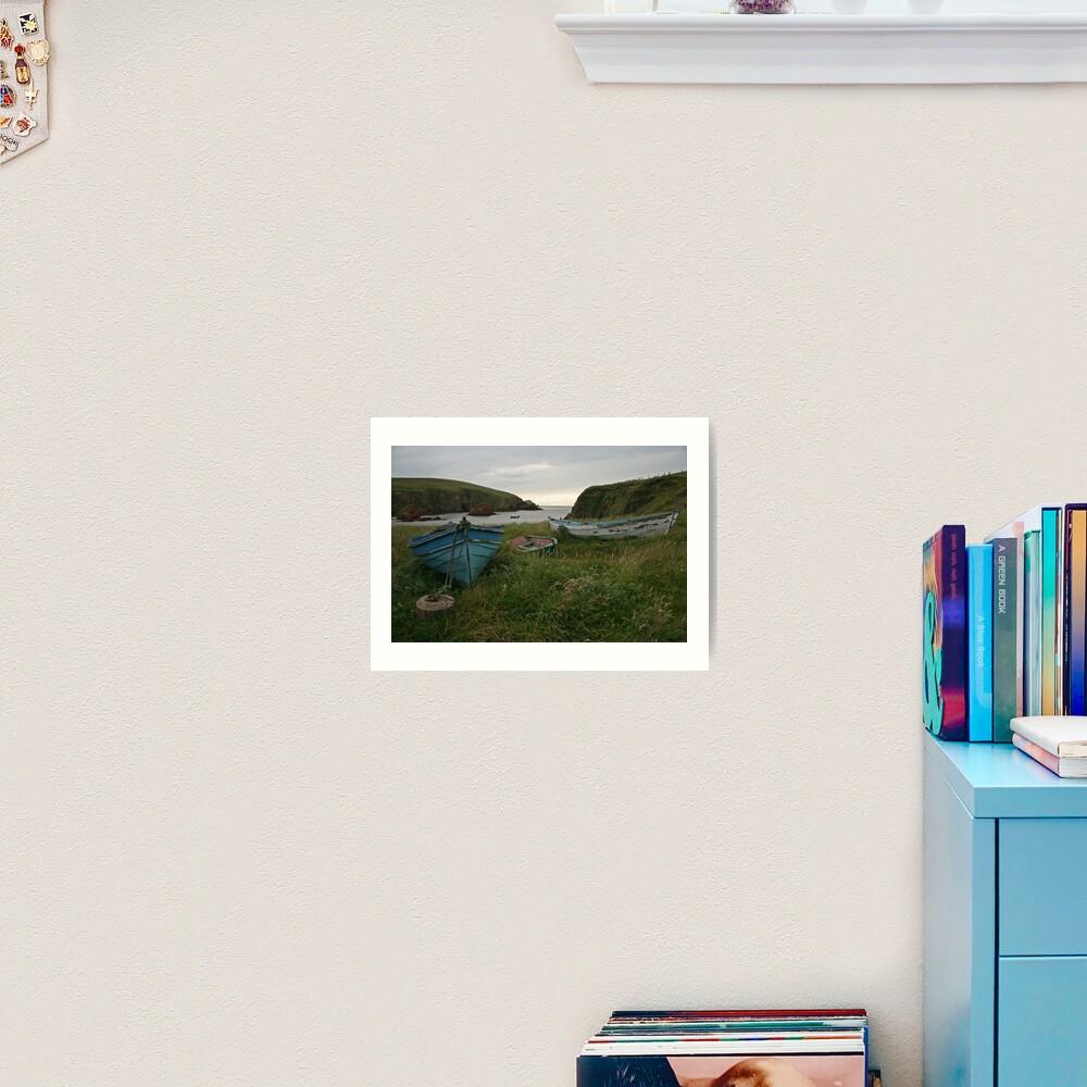 Boat nousts, Spiggie Art Print