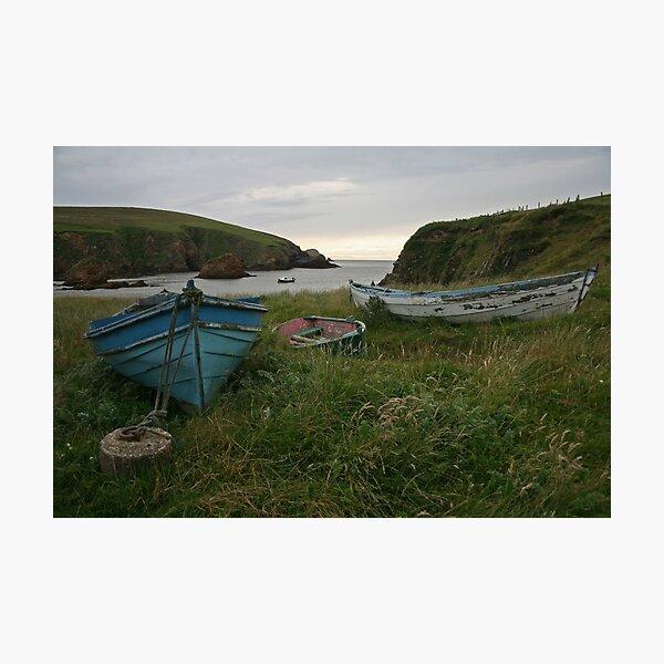 Boat nousts, Spiggie Photographic Print