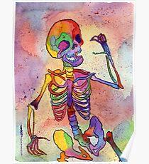 Regenbogen-Skelett Poster