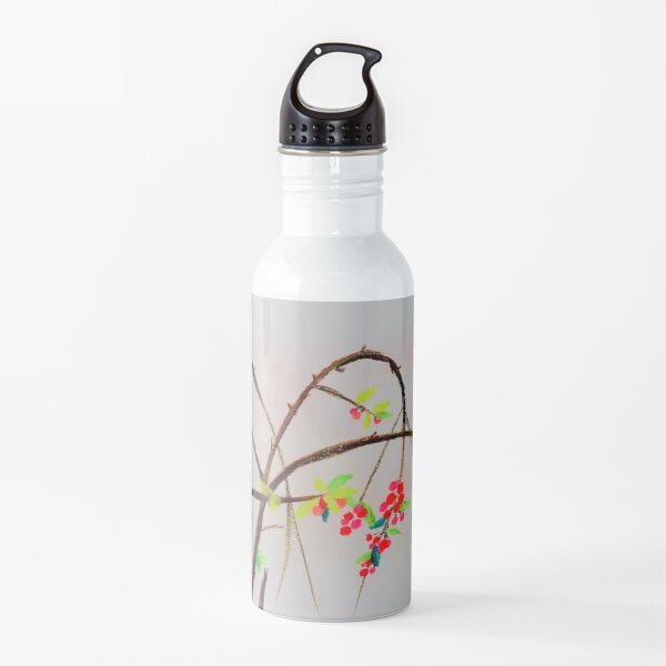 Berry Branch - Oil Pastel Drawing Water Bottle