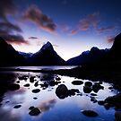 Milford Sound, Last Glow by Michael Treloar