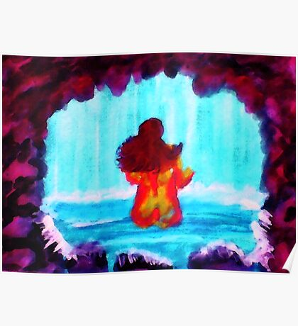 Bathing in the Grotto, watercolor Poster