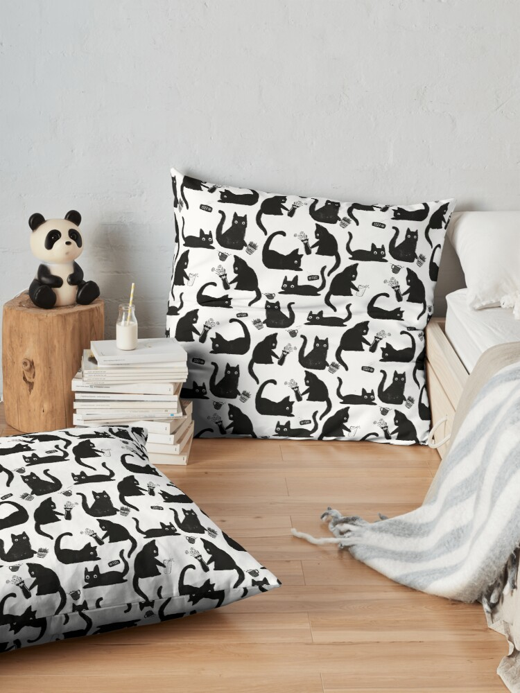 Alternate view of Bad Cats Knocking Stuff Over Floor Pillow