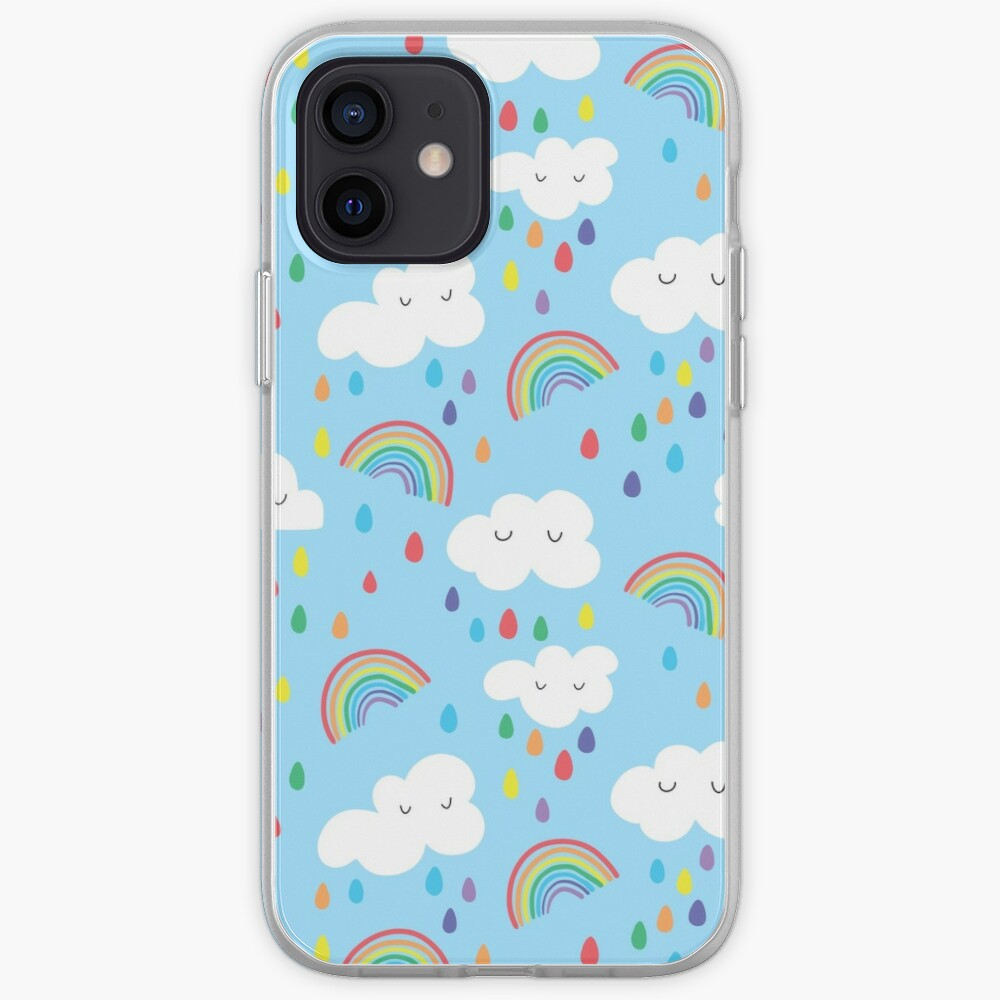Rainbow and clouds iPhone Case