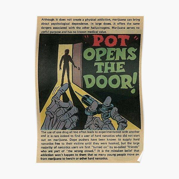 """Pot Opens The Door"" (Vintage 1970s Anti-Marijuana Propaganda) Poster"