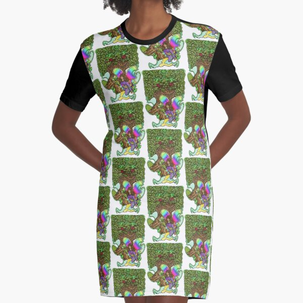 The Fairy and the Enchanted Tree Graphic T-Shirt Dress