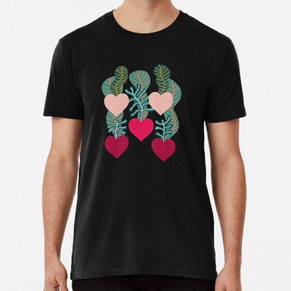 Plantas de corazón en amarillo Camiseta premium