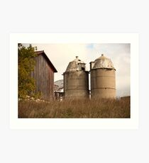 Two Old Silos Talking About the Barn Art Print