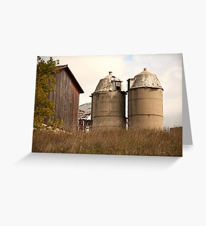 Two Old Silos Talking About the Barn Greeting Card