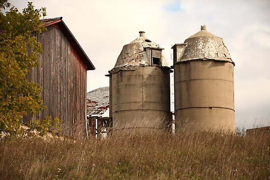 Two Old Silos Talking About the Barn by Thomas Murphy